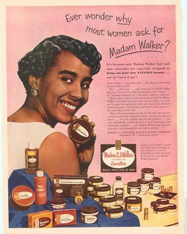 1950s black makeup - Madam Walker brand, one of the first to start a beauty hair and cosmetic line for black women 1950s