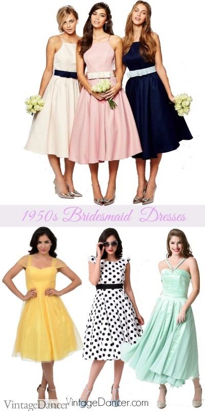1950s bridesmaid dresses. Fun colors, classic vintage style dresses at VintageDancer.com/1950s