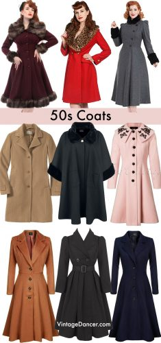 1950s coats, pin up coats, vintage swing coats, winter coats and outerwear at vintagedancer.com