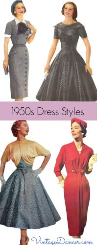1950s dress styles: Sheath or swing dresses were the predominant shapes of fifties fashion. Learn more at VintageDancer.com