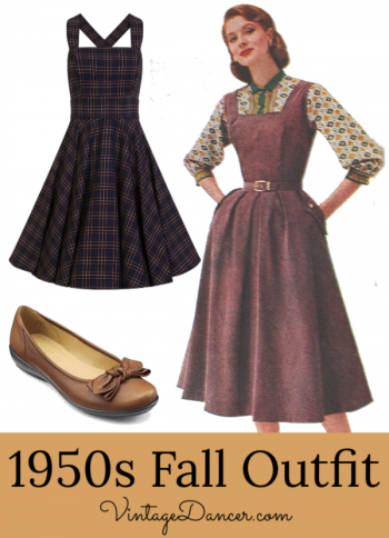 50s Fall outfit idea: Pinafore dress with long sleeve print blouse and Hotter's Jewel bow flats