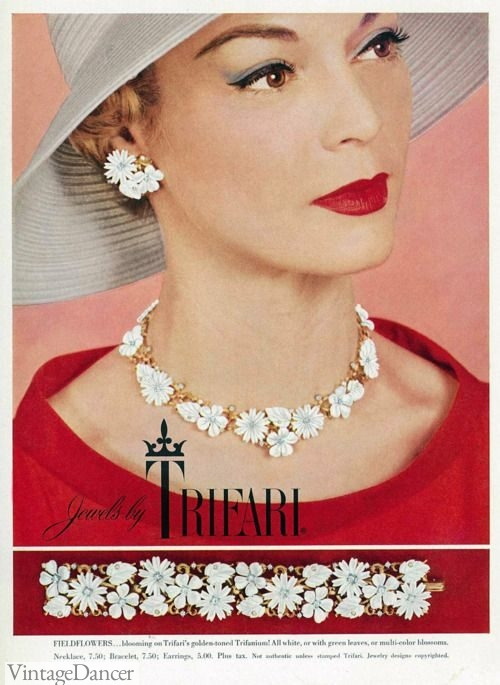 A Trifari jewelry advert from the 1950s.