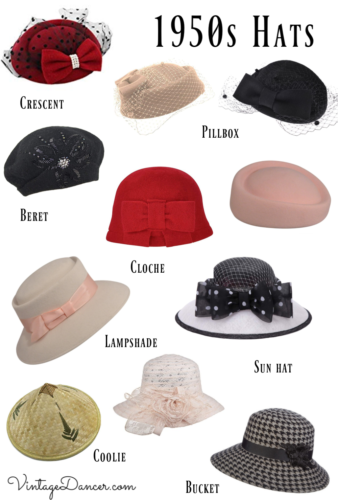 1950s hats, 50s hats, pinup hats, vintage hats, tea hats, fascinator hats, sun hats at VintageDancer