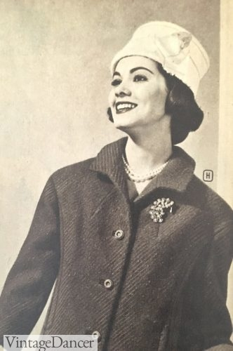 1950s, a brooch on a coat is a lovely winter accent