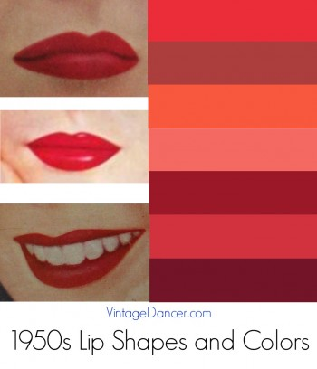 1950s Lipstick colors and lip shapes.