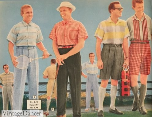 1958, men dressed for summer activities: tennis, golf, and a picnic