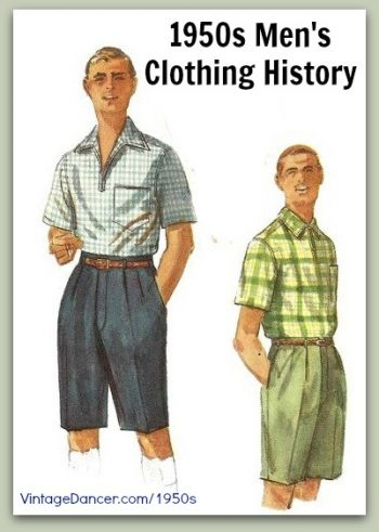 1950s men's clothing and fashion history: casual styles. Learn and shop at VintageDancer.com/1950s