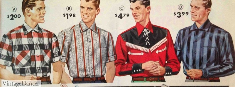 1950s shirts for men 1958 Men's Button-Down Shirts, large prints, and Western