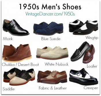 Common 1950s mens shoe styles: monk, blue suede, wingtip, chukka, nubuck, loafer, saddle, creeper and more. Find them at VintageDancer