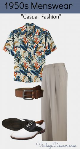 1950s Men's Casual Summer Fashion with a Hawaiian Shirt