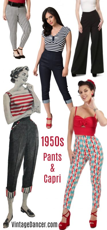 1950s pin up high waist pants and capri bottoms, 50s trousers