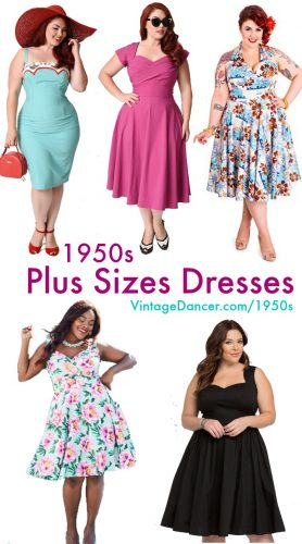 1950s Plus Size Dresses- So many great choices! VintageDancer.com/1950s
