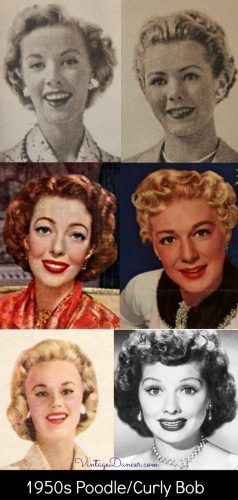 1950s poodle clips or curly bob hairstyles