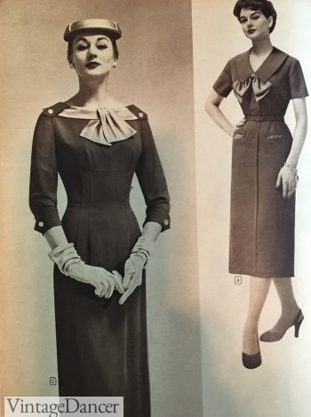 50s Pencil dress with bow collar