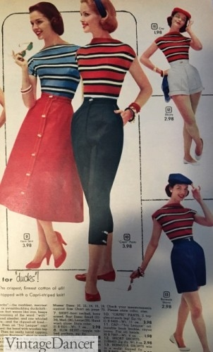 1950s Red, white and blue casual sports wear.