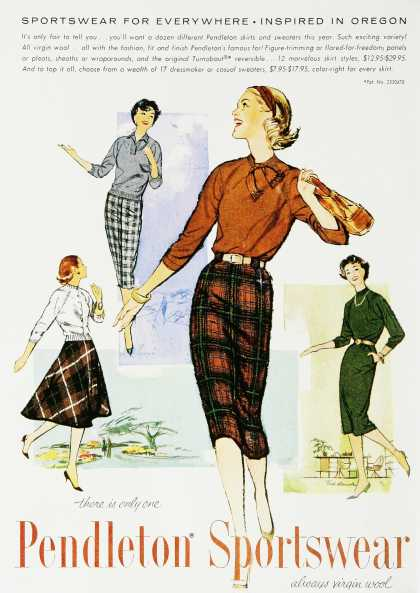 1950s Pendelton Plaid Sheath Skirts