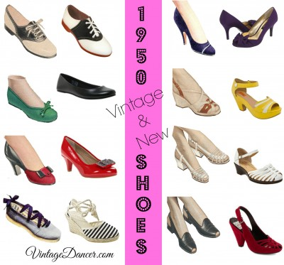 1950s style shoes comparing vintage and new vintage inspired styles. Shop at VintageDancer.com/1950s
