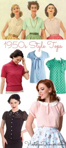 Shop 1950s style tops, blouses, shirts and sweaters at VintageDancer.com