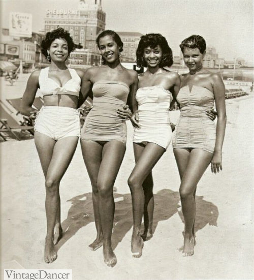 1950s One and two peice swimsuits black women ladies girls on the beach