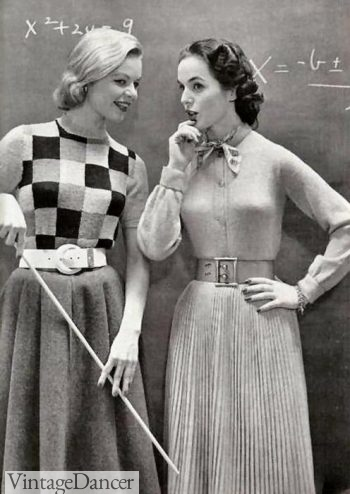 1950s wide belts and skirts