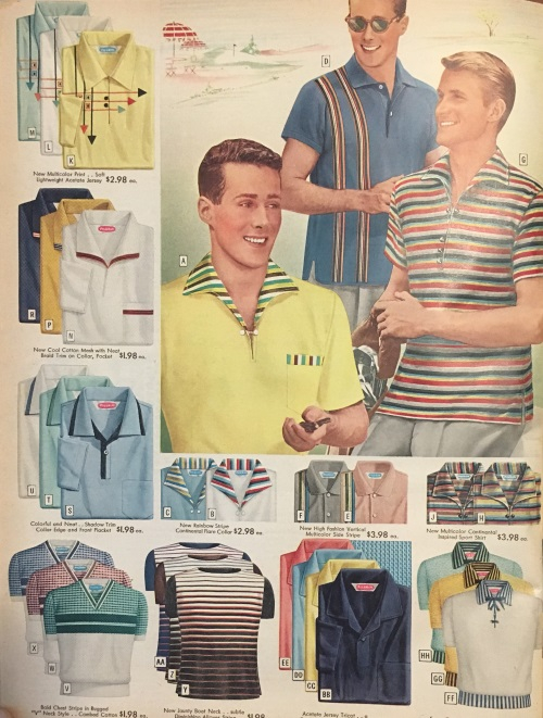 1950s casual shirts: polo shirts, T-shirts, zip down pullovers