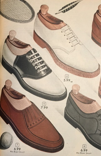 1950s Black and white saddle shoes for teen boys and young men