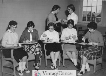 1950s teens at school wearing saddle shoes