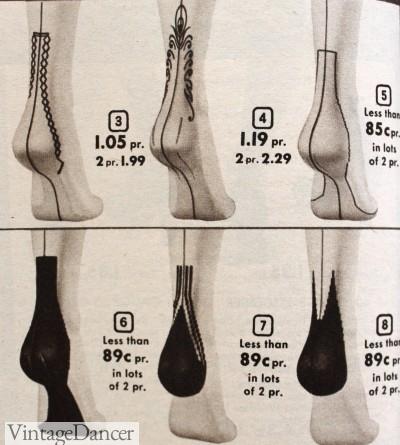 1950s unqiue stocking heels nylons heels
