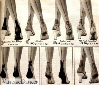 1950s backseam stockings with unique heel designs