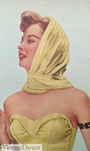 1950s hair scarf, chiffon, worn with swimsuit