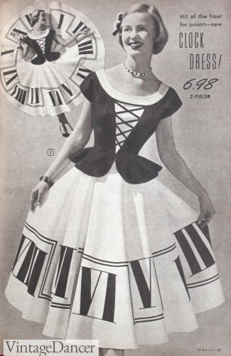 1950s clock print skirt. I have seen piano keyboard skirts as well. Such charming novelty designs!