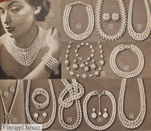 1951, multi stands of pearl necklaces