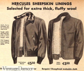 1951 mens bomber style jackets with fur or knit collard vintage workwear