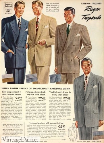 1951 men's tropical weight Dacron and Wool suits
