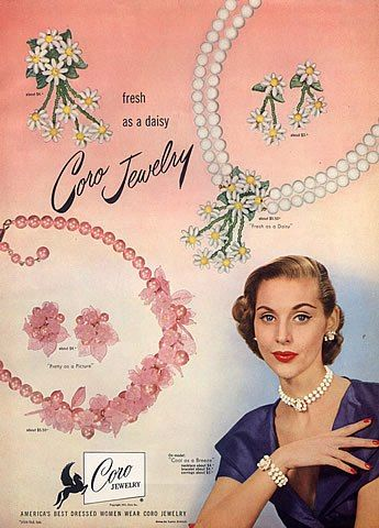 1951 colored plastic Lucite flower jewelry