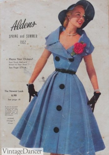 1952 Aldens catalogs had the latest fashions at affordable mass produced prices.