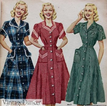 1950s shirtwaist dresses, day dresses, house dresses. Charming! 1952