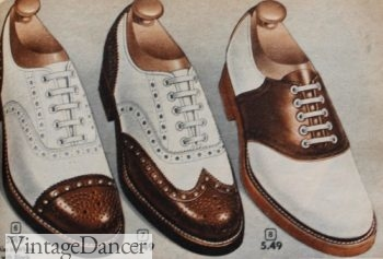 1950s mens shoes, 1952 mens saddle shoe (r), wingtip and cap toe two tone shoes.