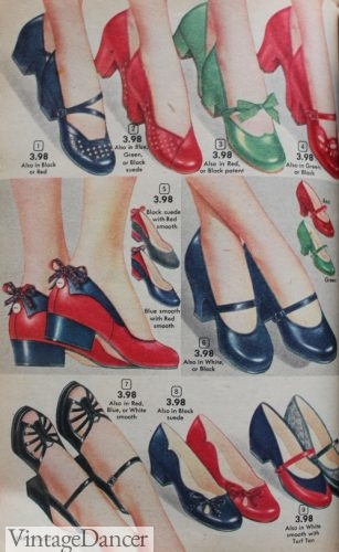 1952 low heels and slip on shoes