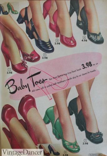 "1950s bay doll heel shoes by Aldens called ""baby Ties"""