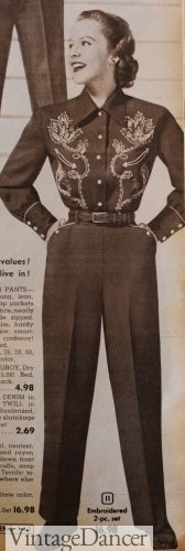 1953 Western Pants with white piping around pockets