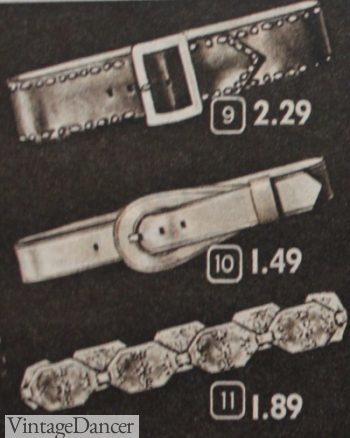 1953 studded belt, shaped buckle, and metal medallion belt