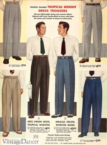 1953 men's dress slacks with Hollywood waistband and belts