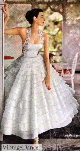 1953 white ruffled formal ballgown