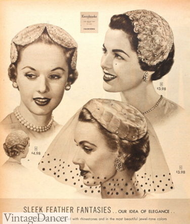 1954 feather covered hats