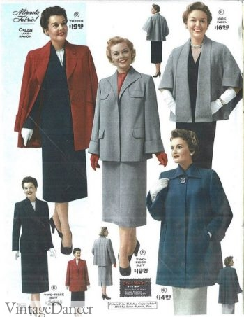 1954 winter styles suits and coats for plus sizes