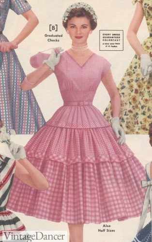 1955 Pink gingham tiered dress. You can't get more western than this.