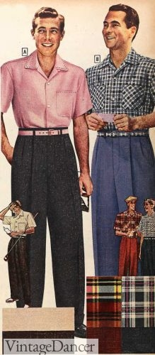 1955 mens pink shirt and belt outfit