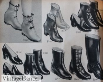 190s rain boots, galoshes and rubber shoes