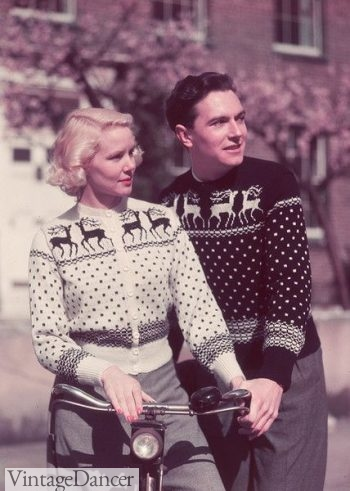 Vintage his and her sweaters - 1955 more matching deer sweaters- I love the exchange of black and white